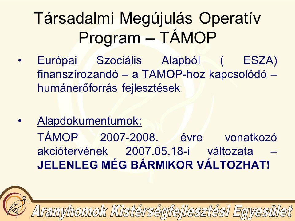 Társadalmi Megújulás Operatív Program – TÁMOP Európai Szociális Alapból ( ESZA) finanszírozandó – a TAMOP-hoz kapcsolódó – humánerőforrás fejlesztések Alapdokumentumok: TÁMOP 2007-2008.
