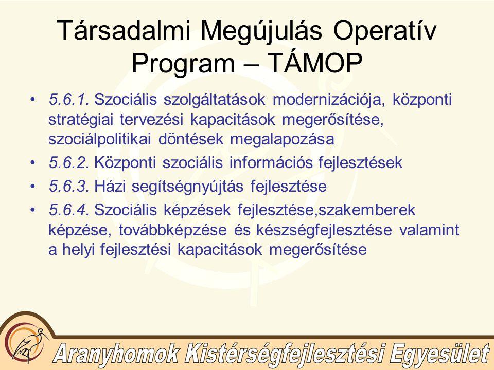 Társadalmi Megújulás Operatív Program – TÁMOP 5.6.1.