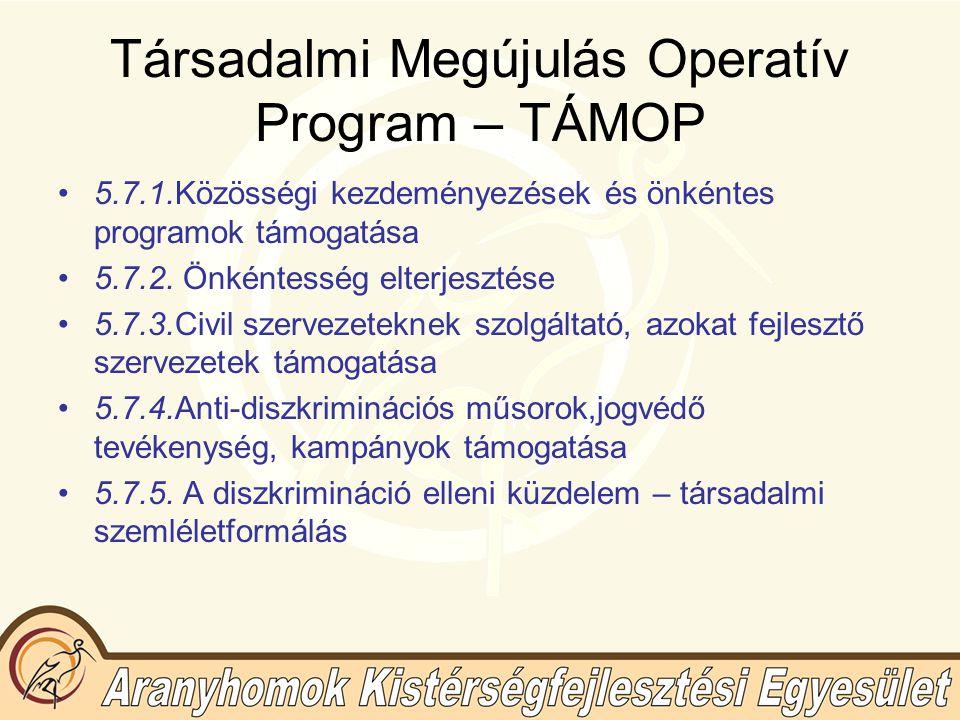 Társadalmi Megújulás Operatív Program – TÁMOP 5.7.1.Közösségi kezdeményezések és önkéntes programok támogatása 5.7.2.