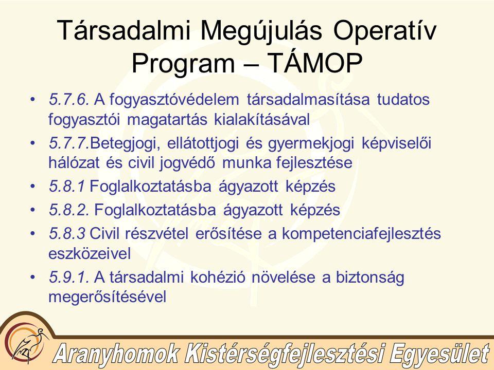 Társadalmi Megújulás Operatív Program – TÁMOP 5.7.6.