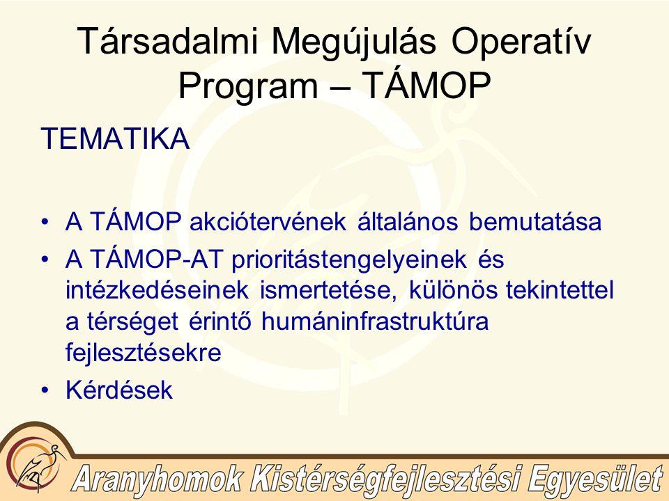 Társadalmi Megújulás Operatív Program – TÁMOP Prioritási tengelyek: 1.A foglalkoztathatóság fejlesztése, a munkaerőpiacra való belépés ösztönzése 2.Alkalmazkodóképesség javítása (munkavállalók és szervezetek gazdasági és társadalmi változásokhoz való alkalmazkodásának segítése) 3.Minőségi oktatás és hozzáférés biztosítása mindenkinek 4.A felsőoktatás tartalmi és szervezeti fejlesztése, a tudásalapú gazdaság kiépítése érdekében 5.Egészségmegőrzés és a társadalmi befogadás, részvétel erősítése