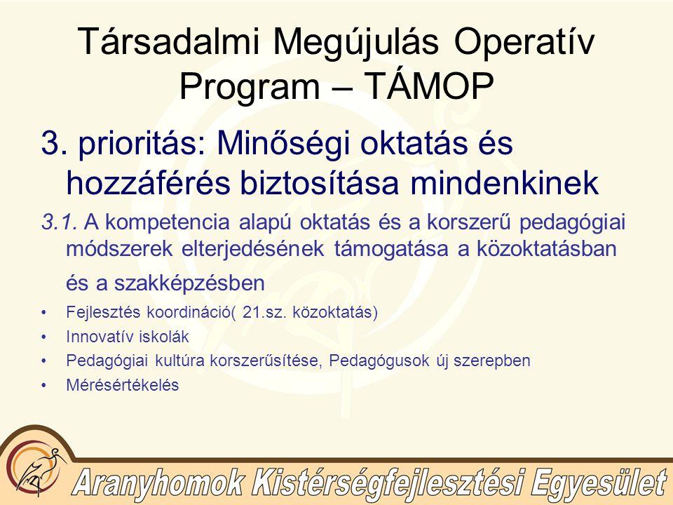 """Társadalmi Megújulás Operatív Program – TÁMOP 3.2.A közoktatási rendszer hatékonyságának javítása, újszerű megoldások és együttműködések kialakítása Intézményi fenntartói társulások megrendelő szerepének """"Építő közösségek -Program a közművelődéi intézményrendszer és civil szféra atipikus, nem formális képzési szolgáltatásainak fejlesztése """"Tudásdepó-Expressz A könyvtári hálózat fejlesztése, nem formális és informális képzési szerepének erősítése az élethosszig tartó tanulás érdekében Kulturális örökségi értékek digitalizálása és Egységes Szolgáltató Felület kialakítása Új tanulási formák (digitális iskola)"""