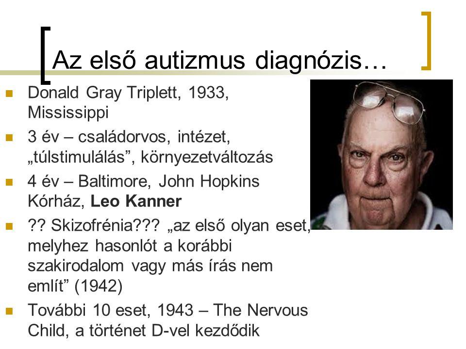 """Az első autizmus diagnózis… Donald Gray Triplett, 1933, Mississippi 3 év – családorvos, intézet, """"túlstimulálás , környezetváltozás 4 év – Baltimore, John Hopkins Kórház, Leo Kanner ?."""