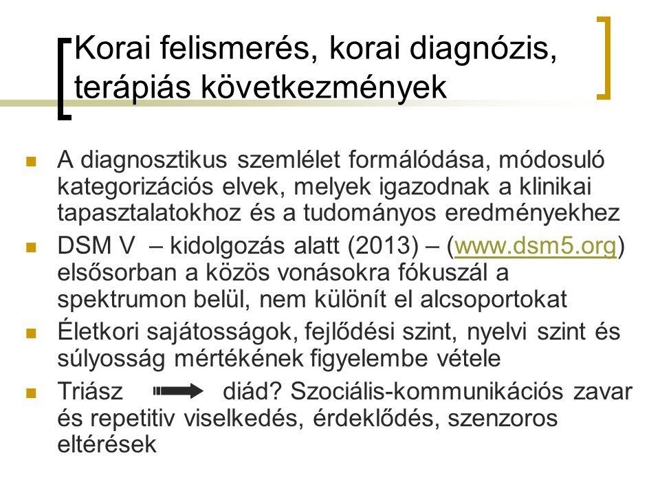 Korai felismerés, korai diagnózis, terápiás következmények A diagnosztikus szemlélet formálódása, módosuló kategorizációs elvek, melyek igazodnak a klinikai tapasztalatokhoz és a tudományos eredményekhez DSM V – kidolgozás alatt (2013) – (www.dsm5.org) elsősorban a közös vonásokra fókuszál a spektrumon belül, nem különít el alcsoportokatwww.dsm5.org Életkori sajátosságok, fejlődési szint, nyelvi szint és súlyosság mértékének figyelembe vétele Triászdiád.