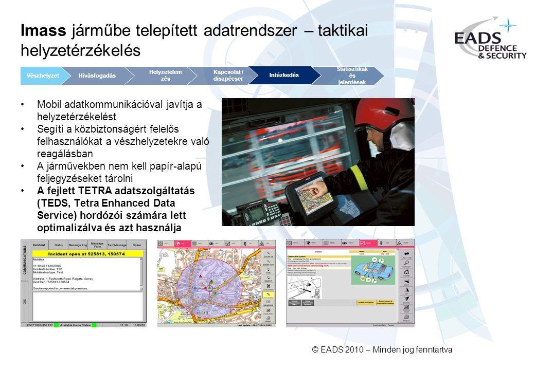 © EADS 2010 – Minden jog fenntartva Imass járműbe telepített adatrendszer – taktikai helyzetérzékelés Mobil adatkommunikációval javítja a helyzetérzékelést Segíti a közbiztonságért felelős felhasználókat a vészhelyzetekre való reagálásban A járművekben nem kell papír-alapú feljegyzéseket tárolni A fejlett TETRA adatszolgáltatás (TEDS, Tetra Enhanced Data Service) hordózói számára lett optimalizálva és azt használja Kapcsolat / diszpécser Helyzetelem zés Statisztikák és jelentések VészhelyzetHívásfogadás Intézkedés