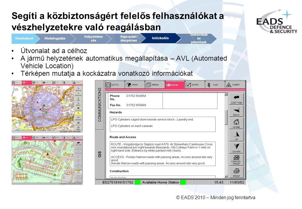 © EADS 2010 – Minden jog fenntartva Segíti a közbiztonságért felelős felhasználókat a vészhelyzetekre való reagálásban Útvonalat ad a célhoz A jármű helyzetének automatikus megállapítása – AVL (Automated Vehicle Location) Térképen mutatja a kockázatra vonatkozó információkat Kapcsolat / diszpécser Helyzetelem zés Statisztikák és jelentések VészhelyzetHívásfogadás Intézkedés