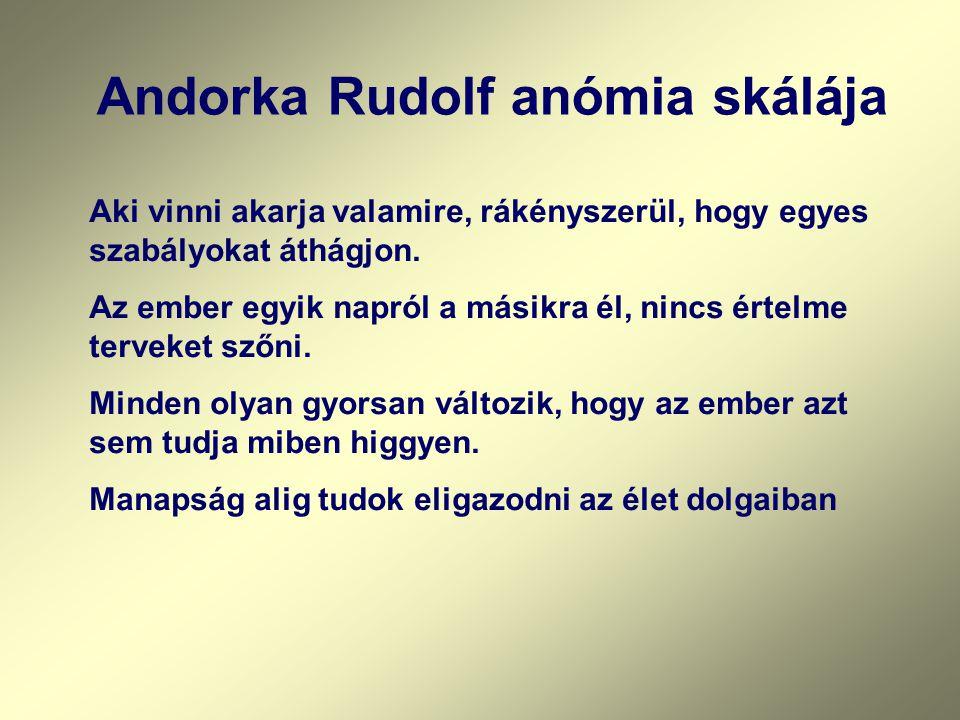 Andorka Rudolf anómia skálája Aki vinni akarja valamire, rákényszerül, hogy egyes szabályokat áthágjon. Az ember egyik napról a másikra él, nincs érte