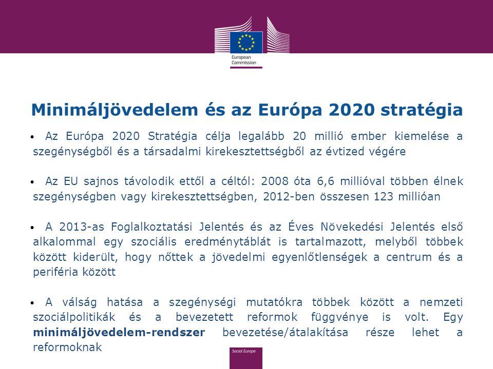 Minimáljövedelem és az Európa 2020 stratégia Az Európa 2020 Stratégia célja legalább 20 millió ember kiemelése a szegénységből és a társadalmi kirekes