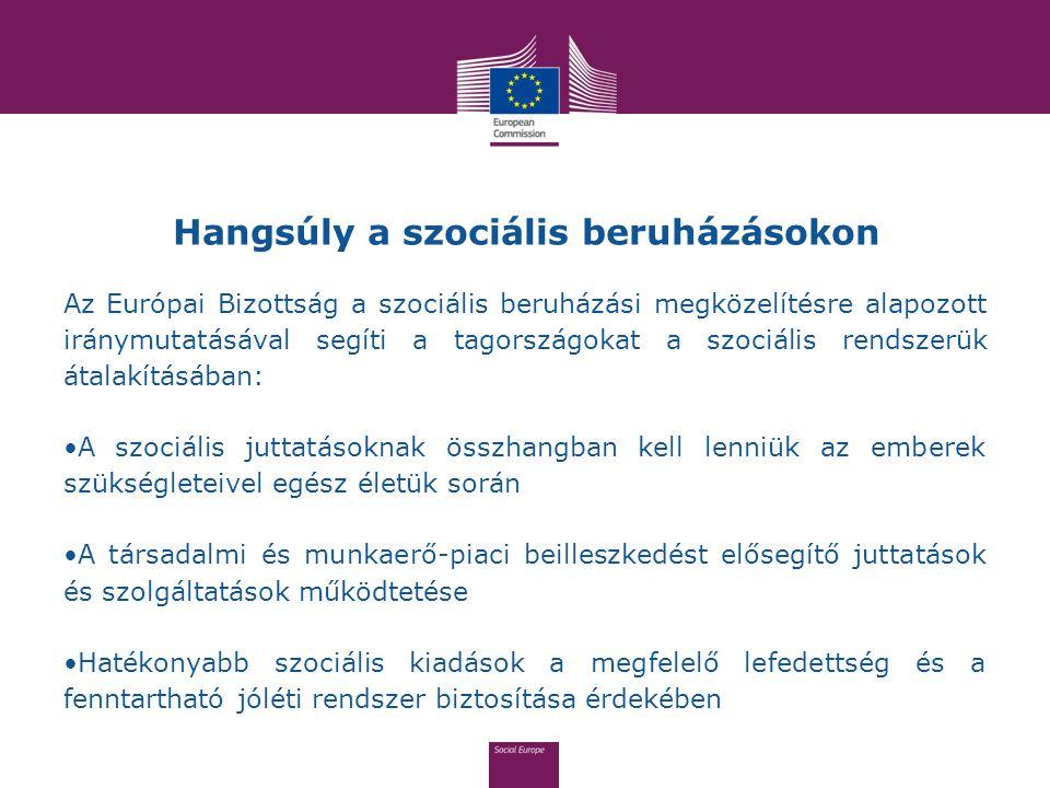 Hangsúly a szociális beruházásokon Az Európai Bizottság a szociális beruházási megközelítésre alapozott iránymutatásával segíti a tagországokat a szoc