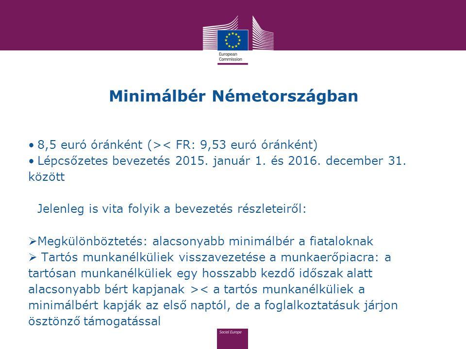 Minimálbér Németországban 8,5 euró óránként (>< FR: 9,53 euró óránként) Lépcsőzetes bevezetés 2015. január 1. és 2016. december 31. között Jelenleg is
