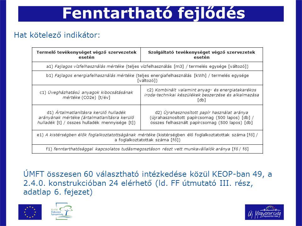 Hat kötelező indikátor: Fenntartható fejlődés ÚMFT összesen 60 választható intézkedése közül KEOP-ban 49, a 2.4.0.