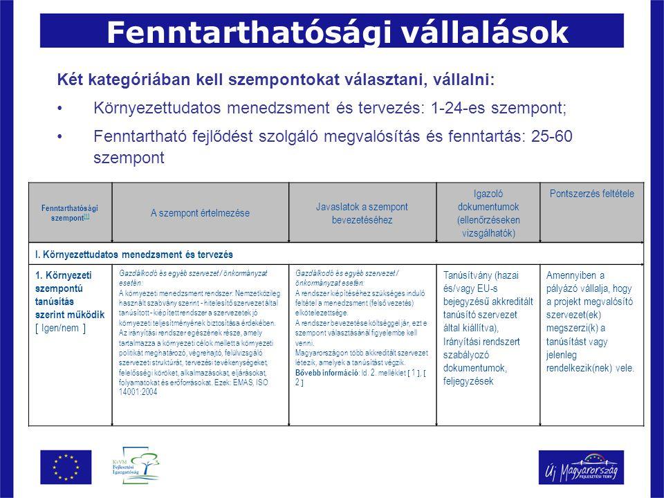 Fenntarthatósági vállalások Két kategóriában kell szempontokat választani, vállalni: Környezettudatos menedzsment és tervezés: 1-24-es szempont; Fenntartható fejlődést szolgáló megvalósítás és fenntartás: 25-60 szempont Fenntarthatósági szempont [1] [1] A szempont értelmezése Javaslatok a szempont bevezetéséhez Igazoló dokumentumok (ellenőrzéseken vizsgálhatók) Pontszerzés feltétele I.