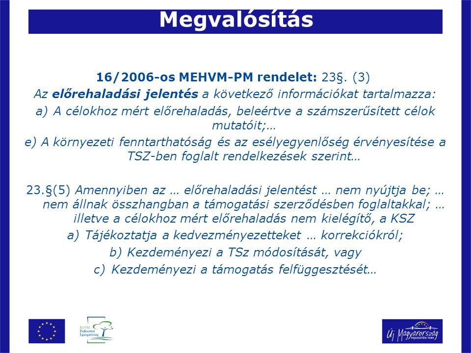 Megvalósítás 16/2006-os MEHVM-PM rendelet: 23§.