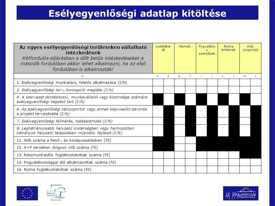Esélyegyenlőségi adatlap kitöltése Az egyes esélyegyenlőségi területeken vállalható intézkedések Kétfordulós eljárásban a dőlt betűs intézkedéseket a második fordulóban akkor lehet alkalmazni, ha az első fordulóban is alkalmazták.