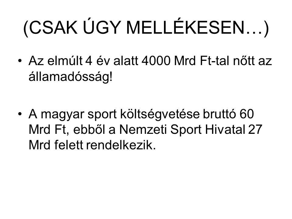 (CSAK ÚGY MELLÉKESEN…) Az elmúlt 4 év alatt 4000 Mrd Ft-tal nőtt az államadósság! A magyar sport költségvetése bruttó 60 Mrd Ft, ebből a Nemzeti Sport
