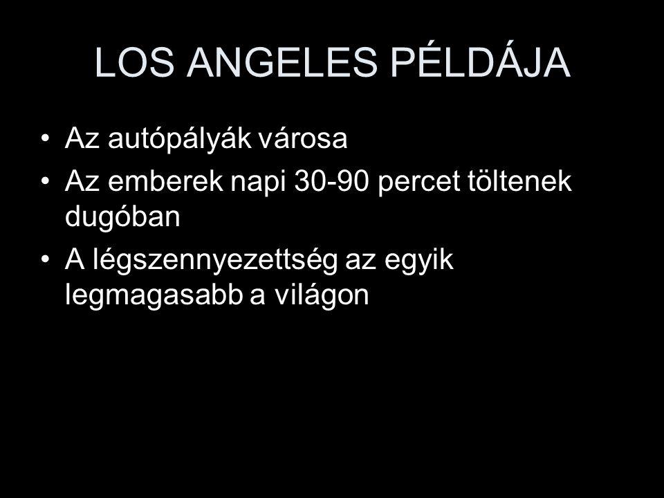 LOS ANGELES PÉLDÁJA Az autópályák városa Az emberek napi 30-90 percet töltenek dugóban A légszennyezettség az egyik legmagasabb a világon
