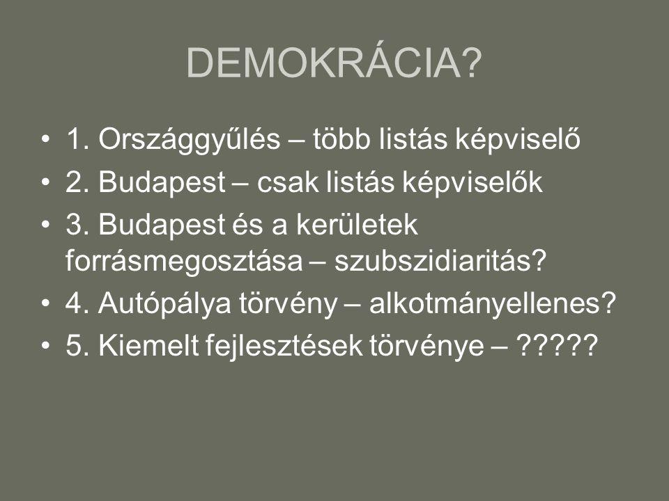 DEMOKRÁCIA? 1. Országgyűlés – több listás képviselő 2. Budapest – csak listás képviselők 3. Budapest és a kerületek forrásmegosztása – szubszidiaritás