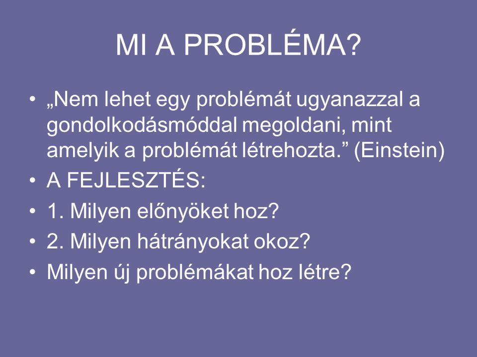 """MI A PROBLÉMA? """"Nem lehet egy problémát ugyanazzal a gondolkodásmóddal megoldani, mint amelyik a problémát létrehozta."""" (Einstein) A FEJLESZTÉS: 1. Mi"""