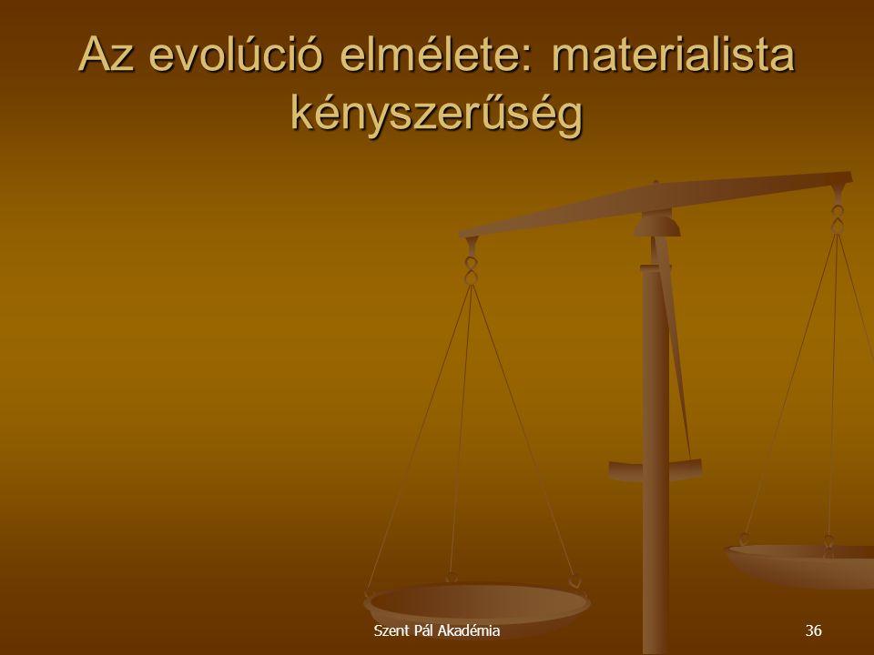 Szent Pál Akadémia36 Az evolúció elmélete: materialista kényszerűség