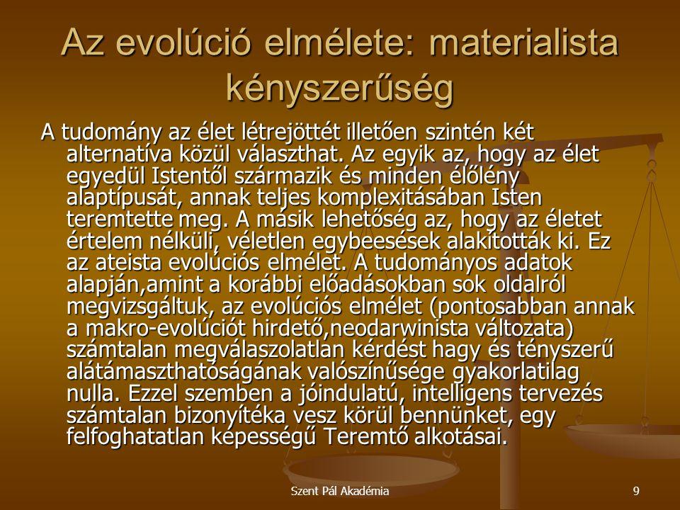 """Szent Pál Akadémia20 Az evolúció elmélete: materialista kényszerűség Majd így folytatja: """" Eközben a darwinista nézet ellen felhozott bizonyítékok egyszerűen eltűnnek, ahogy a maffia ellen tanúskodók szoktak eltűnni…És ha a kritikusokat elhallgattatták, és az ellenbizonyítékokat eltüntették, a dogmatikusok kijelentik, hogy folyik a tudományos vita a témáról, de számottevő ellenbizonyíték nem merült fel. Az evolúció elméletét nem azért tartják életben,mert tudományos értéke van, hanem azért, mert ez ideológiai kötelesség."""