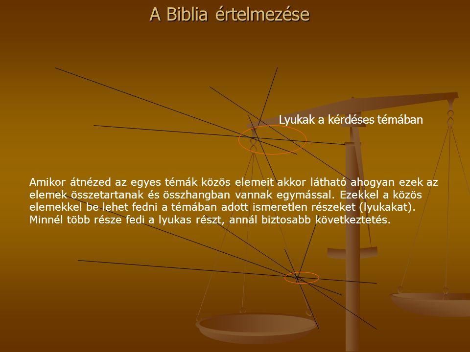 A Biblia értelmezése Amikor átnézed az egyes témák közös elemeit akkor látható ahogyan ezek az elemek összetartanak és összhangban vannak egymással. E