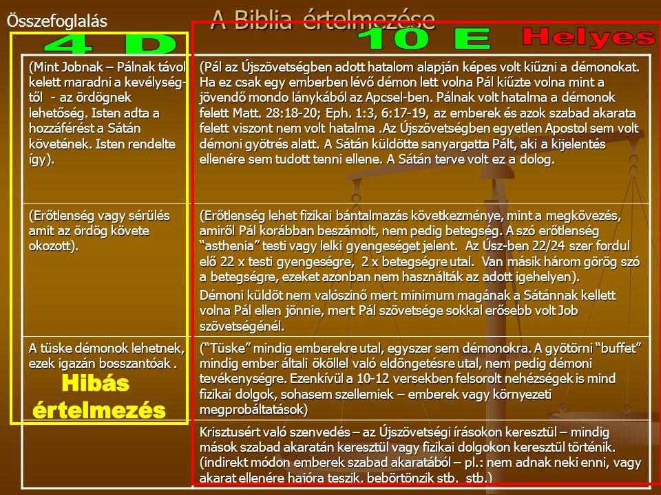 A Biblia értelmezése Összefoglalás (Mint Jobnak – Pálnak távol kelett maradni a kevélység- től - az ördögnek lehetőség. Isten adta a hozzáférést a Sát