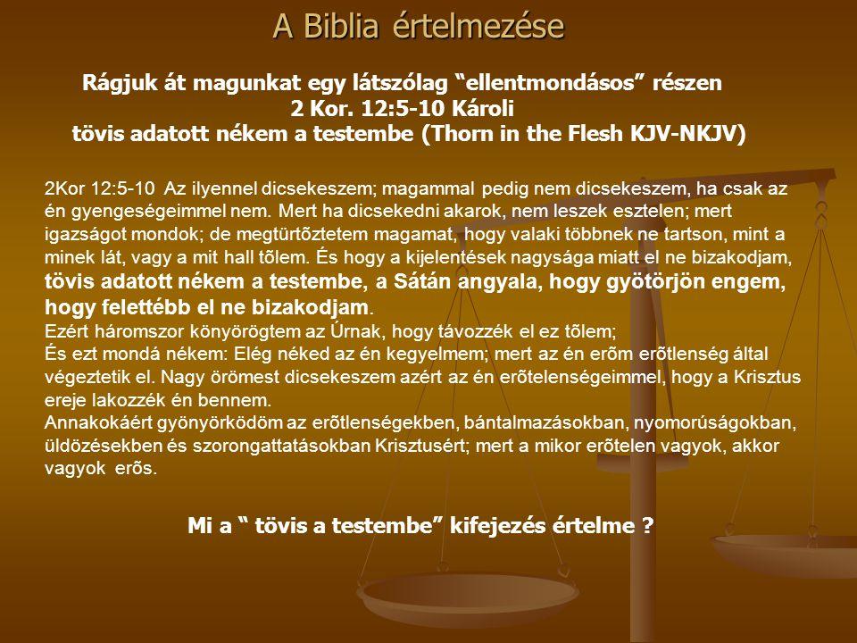 A Biblia értelmezése 2Kor 12:5-10 Az ilyennel dicsekeszem; magammal pedig nem dicsekeszem, ha csak az én gyengeségeimmel nem. Mert ha dicsekedni akaro