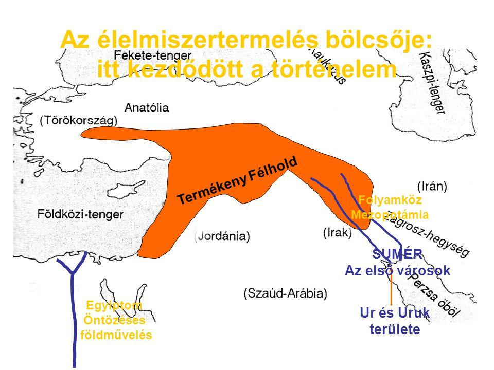 Földrajzi jellemzők Mezopotámia: jelentése folyamköz, a Tigris és az Eufratész közötti terület A területen csak földet lehet művelni, a fém, kő, fa csak más területekkel való kapcsolatban érkezhet Ezért szükséges a terményfelesleg kereskedelmi szállítása Öntözéses földművelés » Öntözéses földművelés (gátak, csatornázás)
