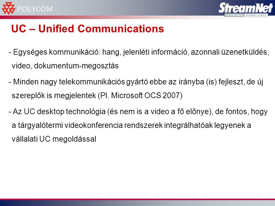 UC – Unified Communications - Egységes kommunikáció: hang, jelenléti információ, azonnali üzenetküldés, video, dokumentum-megosztás - Minden nagy telekommunikációs gyártó ebbe az irányba (is) fejleszt, de új szereplők is megjelentek (Pl.