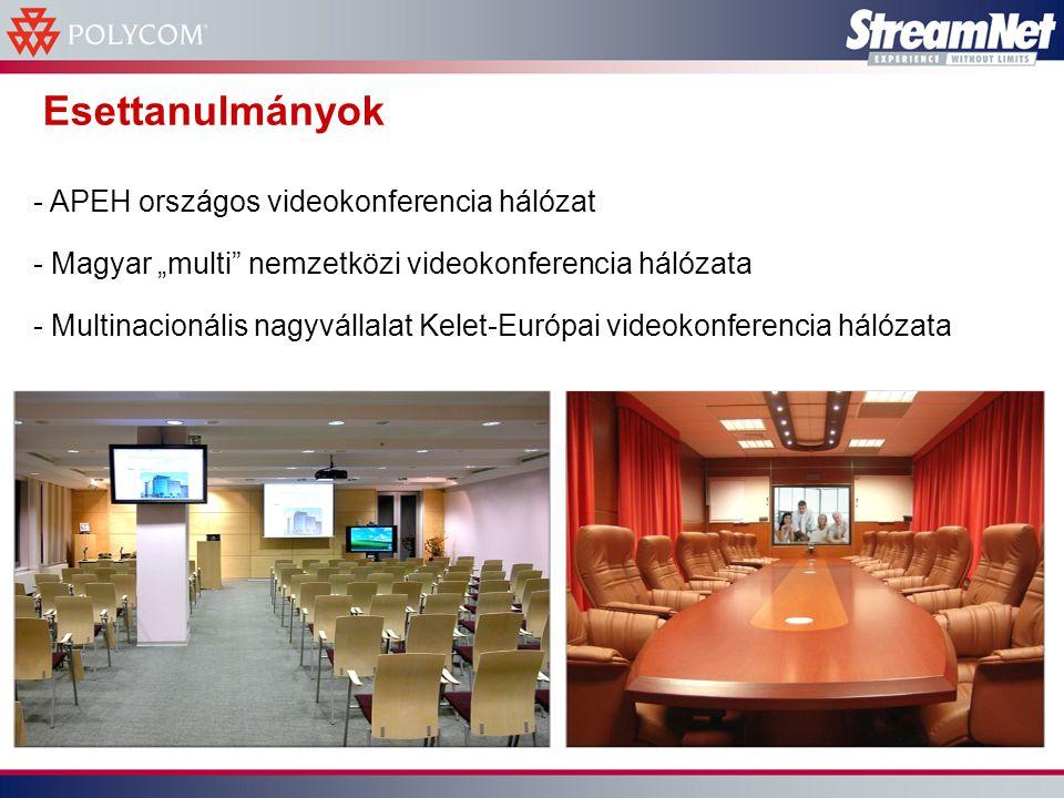 """Esettanulmányok - APEH országos videokonferencia hálózat - Magyar """"multi nemzetközi videokonferencia hálózata - Multinacionális nagyvállalat Kelet-Európai videokonferencia hálózata"""