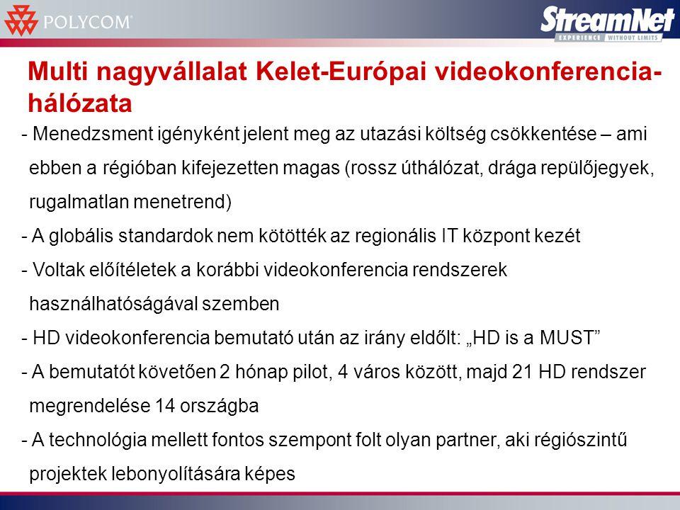 """Multi nagyvállalat Kelet-Európai videokonferencia- hálózata - Menedzsment igényként jelent meg az utazási költség csökkentése – ami ebben a régióban kifejezetten magas (rossz úthálózat, drága repülőjegyek, rugalmatlan menetrend) - A globális standardok nem kötötték az regionális IT központ kezét - Voltak előítéletek a korábbi videokonferencia rendszerek használhatóságával szemben - HD videokonferencia bemutató után az irány eldőlt: """"HD is a MUST - A bemutatót követően 2 hónap pilot, 4 város között, majd 21 HD rendszer megrendelése 14 országba - A technológia mellett fontos szempont folt olyan partner, aki régiószintű projektek lebonyolítására képes"""