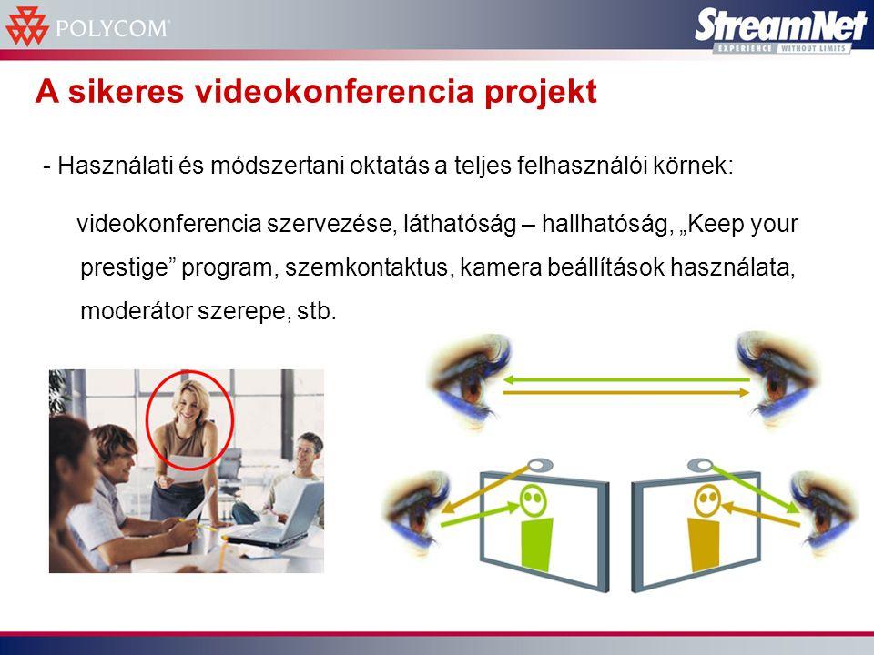 """A sikeres videokonferencia projekt - Használati és módszertani oktatás a teljes felhasználói körnek: videokonferencia szervezése, láthatóság – hallhatóság, """"Keep your prestige program, szemkontaktus, kamera beállítások használata, moderátor szerepe, stb."""