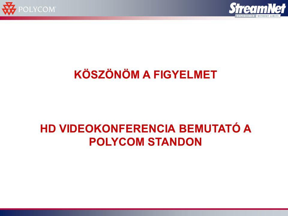 KÖSZÖNÖM A FIGYELMET HD VIDEOKONFERENCIA BEMUTATÓ A POLYCOM STANDON
