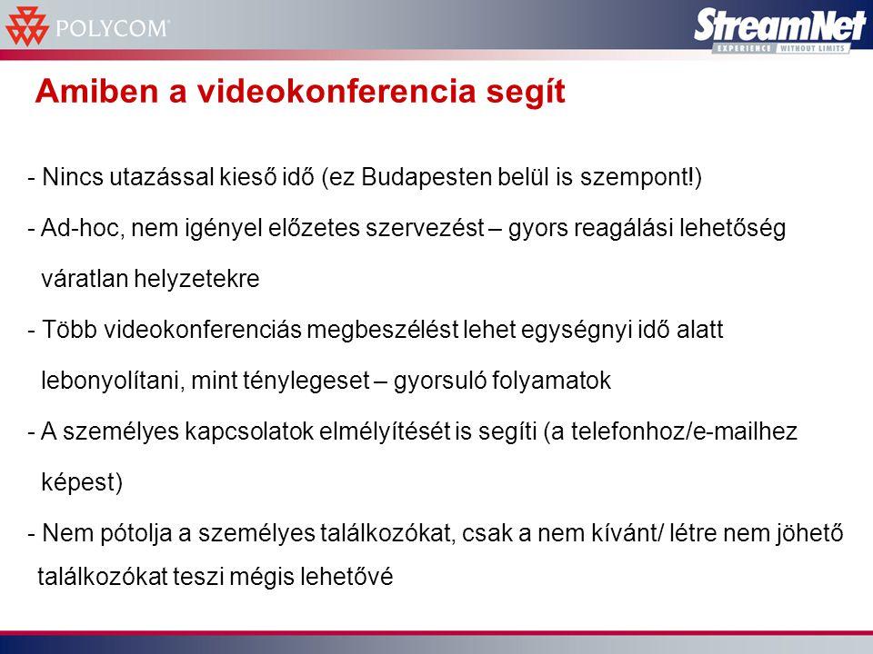 Amiben a videokonferencia segít - Nincs utazással kieső idő (ez Budapesten belül is szempont!) - Ad-hoc, nem igényel előzetes szervezést – gyors reagálási lehetőség váratlan helyzetekre - Több videokonferenciás megbeszélést lehet egységnyi idő alatt lebonyolítani, mint ténylegeset – gyorsuló folyamatok - A személyes kapcsolatok elmélyítését is segíti (a telefonhoz/e-mailhez képest) - Nem pótolja a személyes találkozókat, csak a nem kívánt/ létre nem jöhető találkozókat teszi mégis lehetővé