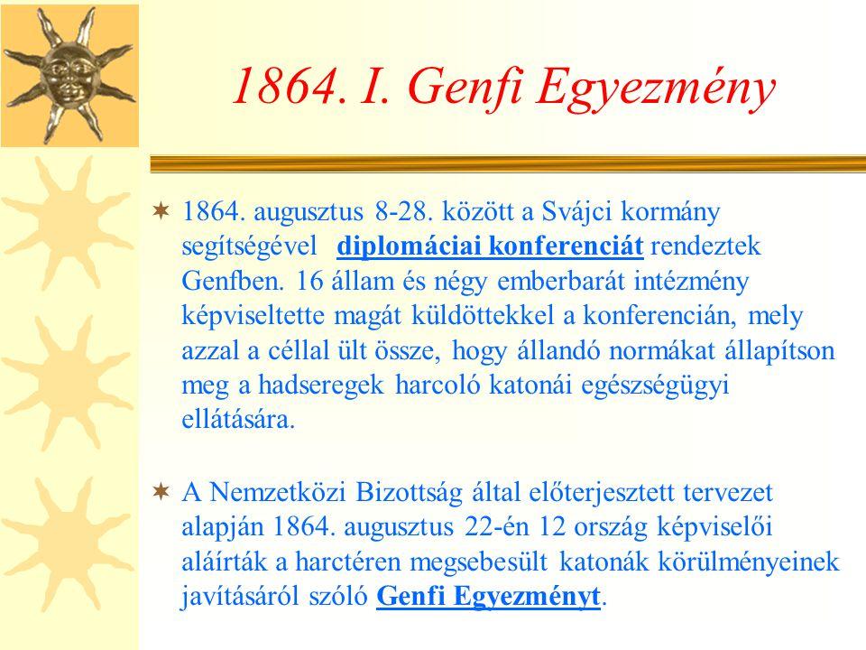 A Vöröskereszt megalakulása  1863 októberében 16 ország képviselői érkeztek az öt tag meghívására Genfbe.