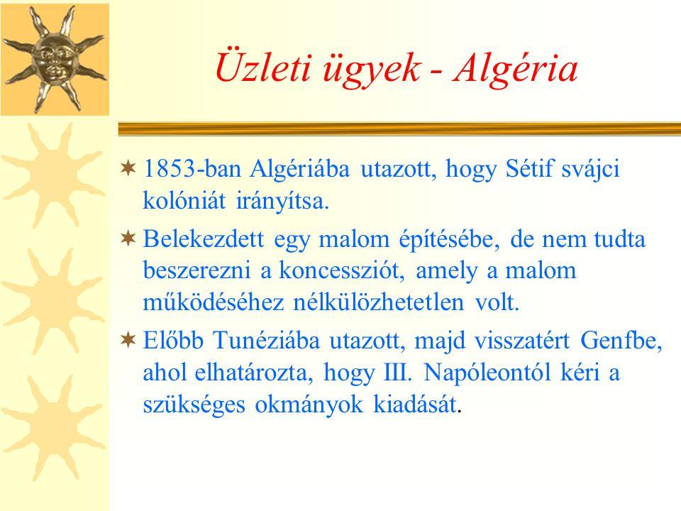 Üzleti ügyek - Algéria  1853-ban Algériába utazott, hogy Sétif svájci kolóniát irányítsa.