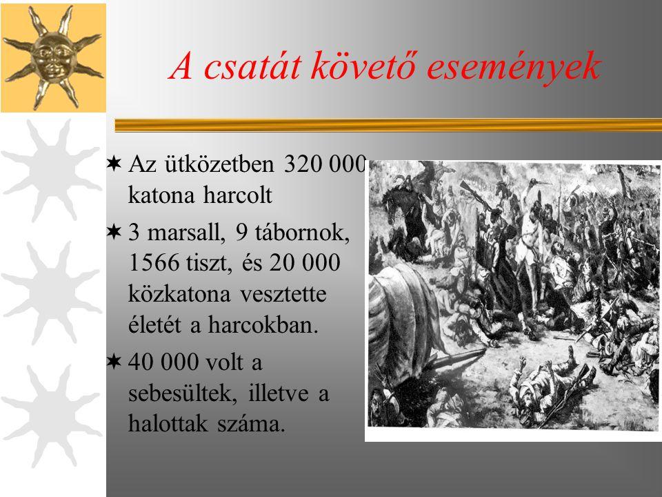 A csatát követő események  Az ütközetben 320 000 katona harcolt  3 marsall, 9 tábornok, 1566 tiszt, és 20 000 közkatona vesztette életét a harcokban.