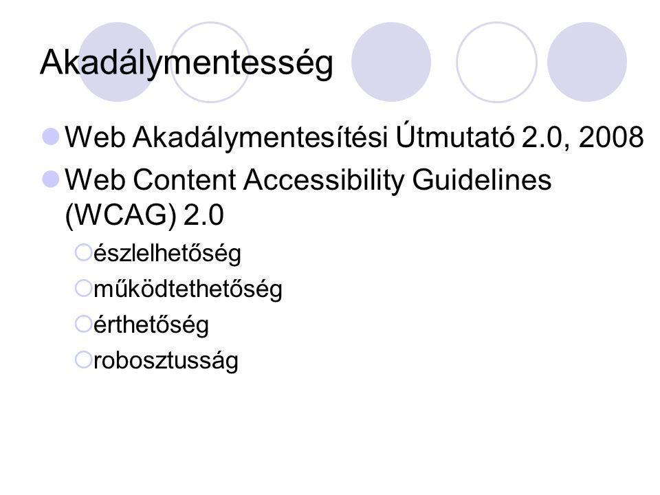 Akadálymentesség Web Akadálymentesítési Útmutató 2.0, 2008 Web Content Accessibility Guidelines (WCAG) 2.0  észlelhetőség  működtethetőség  érthetőség  robosztusság