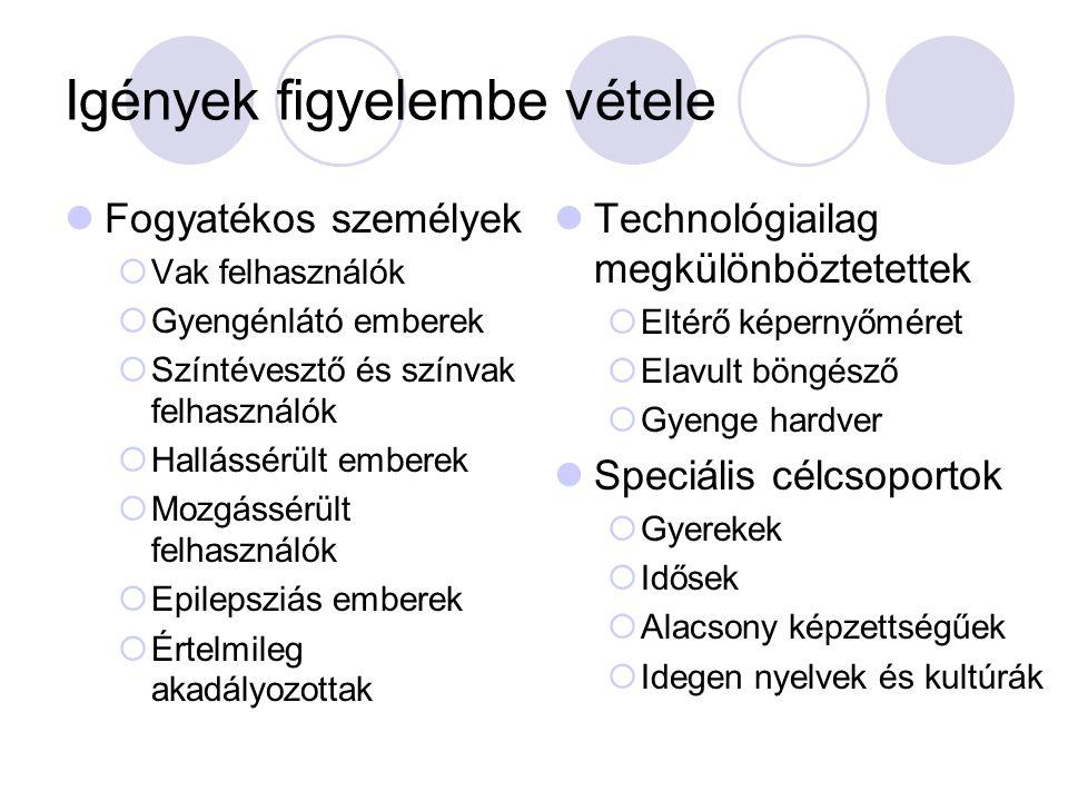 Igények figyelembe vétele Fogyatékos személyek  Vak felhasználók  Gyengénlátó emberek  Színtévesztő és színvak felhasználók  Hallássérült emberek  Mozgássérült felhasználók  Epilepsziás emberek  Értelmileg akadályozottak Technológiailag megkülönböztetettek  Eltérő képernyőméret  Elavult böngésző  Gyenge hardver Speciális célcsoportok  Gyerekek  Idősek  Alacsony képzettségűek  Idegen nyelvek és kultúrák