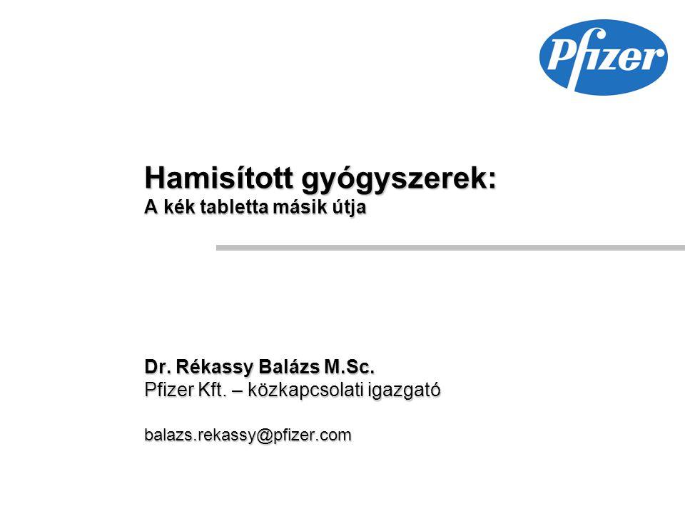 Hamisított gyógyszerek: A kék tabletta másik útja Dr. Rékassy Balázs M.Sc. Pfizer Kft. – közkapcsolati igazgató balazs.rekassy@pfizer.com