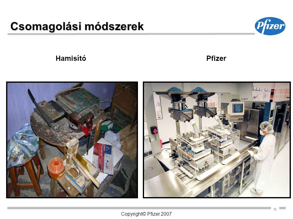 11 Copyright© Pfizer 2007 Csomagolási módszerek HamisítóPfizer