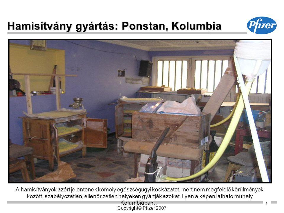 8 Copyright© Pfizer 2007 Hamisítvány gyártás: Ponstan, Kolumbia A hamisítványok azért jelentenek komoly egészségügyi kockázatot, mert nem megfelelő kö