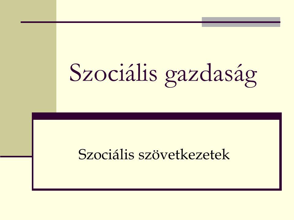 Szociális gazdaság Szociális szövetkezetek