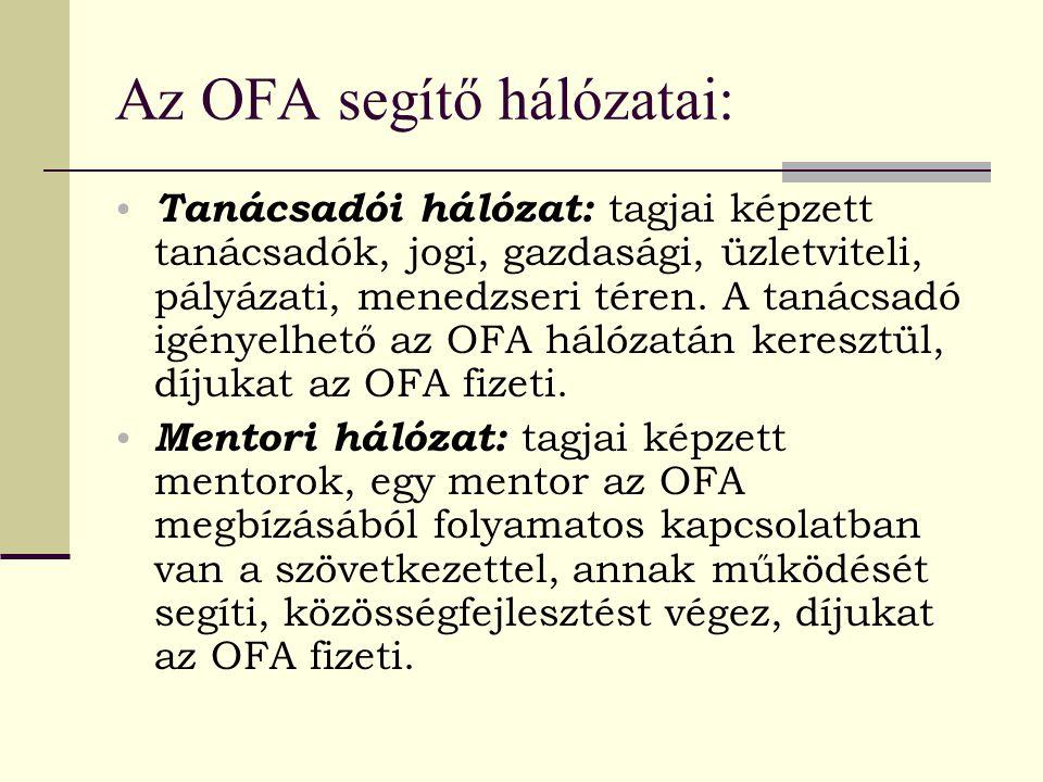 Az OFA segítő hálózatai: Tanácsadói hálózat: tagjai képzett tanácsadók, jogi, gazdasági, üzletviteli, pályázati, menedzseri téren. A tanácsadó igényel