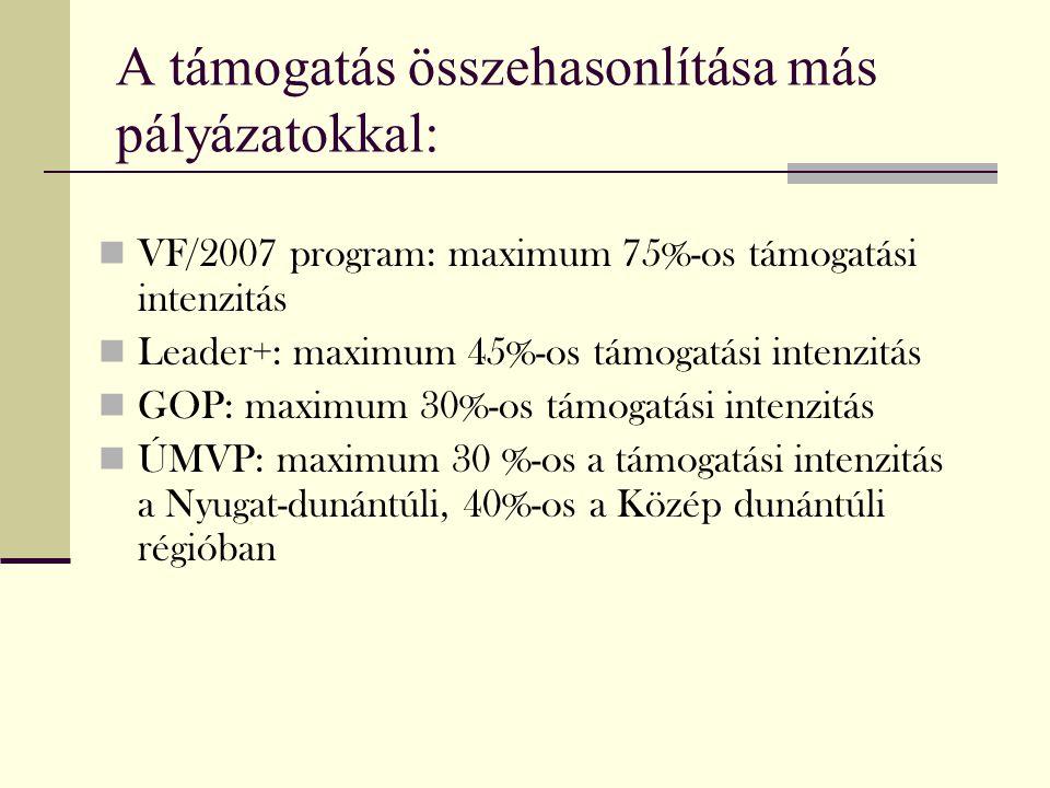 A támogatás összehasonlítása más pályázatokkal: VF/2007 program: maximum 75%-os támogatási intenzitás Leader+: maximum 45%-os támogatási intenzitás GO