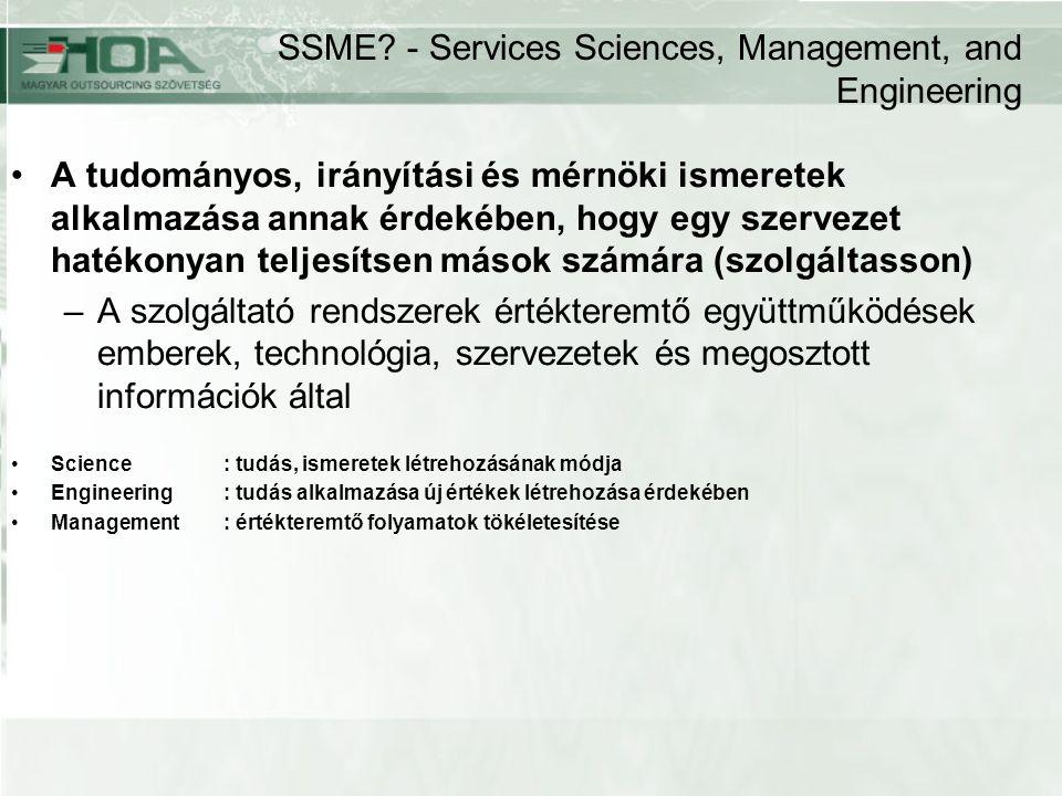 SSME? - Services Sciences, Management, and Engineering A tudományos, irányítási és mérnöki ismeretek alkalmazása annak érdekében, hogy egy szervezet h