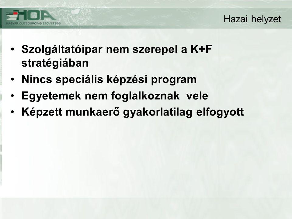 Hazai helyzet Szolgáltatóipar nem szerepel a K+F stratégiában Nincs speciális képzési program Egyetemek nem foglalkoznak vele Képzett munkaerő gyakorlatilag elfogyott
