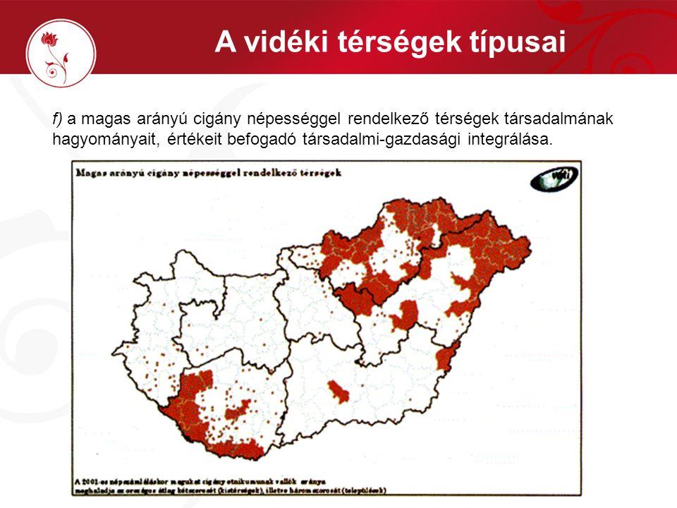 f) a magas arányú cigány népességgel rendelkező térségek társadalmának hagyományait, értékeit befogadó társadalmi-gazdasági integrálása. A vidéki térs