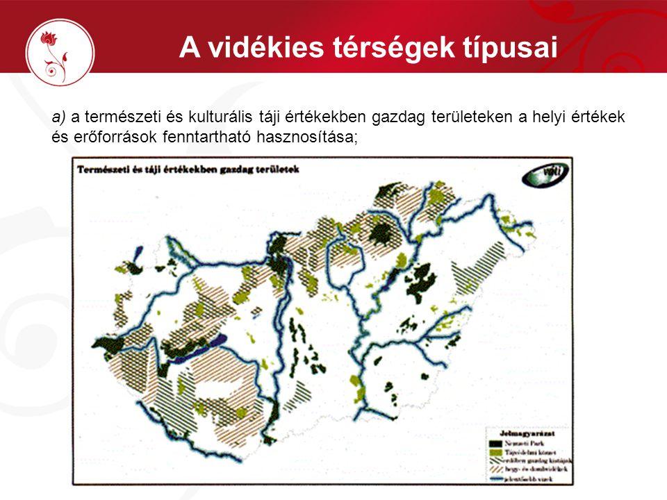 A vidékies térségek típusai a) a természeti és kulturális táji értékekben gazdag területeken a helyi értékek és erőforrások fenntartható hasznosítása;