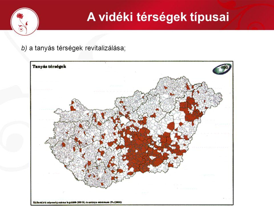 d) az aprófalvas térségekben az értékmegőrzés, funkcióváltás és az esélyegyenlőség megteremtése; A vidéki térségek típusai